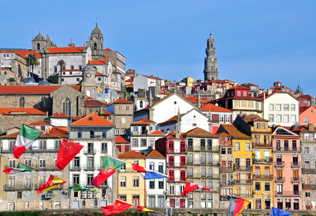 oporto: Oporto riviera multicolor houses, Portugal