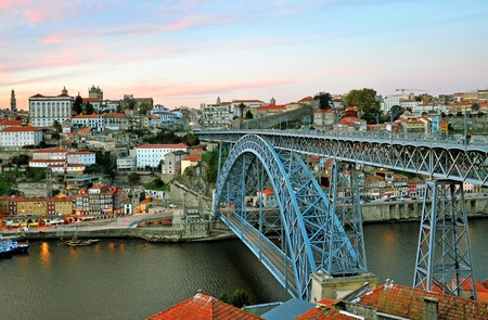 oporto: Oporto cityscape on sunset, Portugal