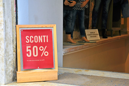 selected: Sale up to 50% on selected items in italian language
