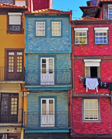 oporto: Colorful houses of Oporto, Portugal