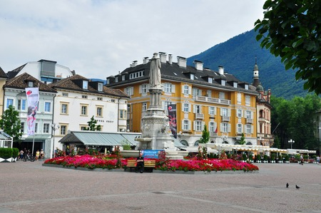 bolzano province: BOLZANO, ITALY - JULY 20: View of a town square of Bolzano, Italy on July 20, 2014. Bolzano is a city in northern Italy, one of two capitals of Trentino Alto province.  Editorial