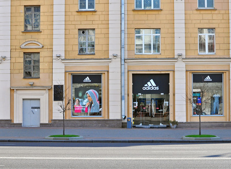 adidas: MINSK, BELARUS - OCTOBER 4: Adidas flagship store in Minsk on October 4, 2014. Minsk is a capital and the largest city of Belarus.