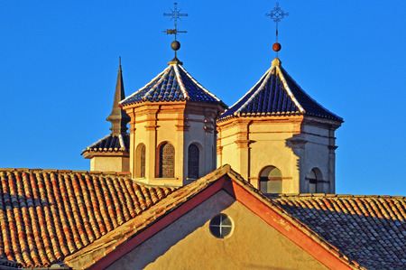 mudejar: Towers in Mudejar architectural style, Cuenca, Spain Stock Photo