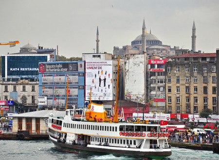 constituting: ISTANBUL, TURKEY - NOVEMBER 10: Panorama of Istanbul city and Bosfor on November 10, 2012. Istanbul is the largest city in Turkey, constituting the countrys cultural and historical heart. Editorial
