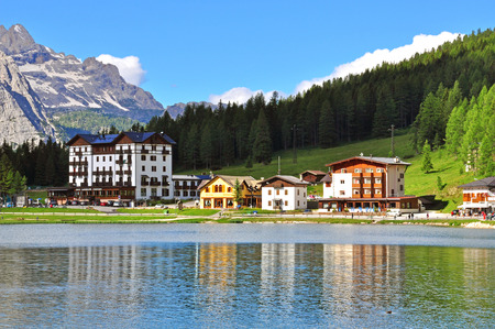 lake misurina: MISURINA, ITALY - JULY 12: View of Misurina lake in Veneto, Italy on July 12, 2014. Misurina is a famous lake in Dolomites, province Veneto, Italy.