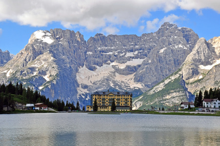 lake misurina: Mountains in italian Alps. Misurina Lake