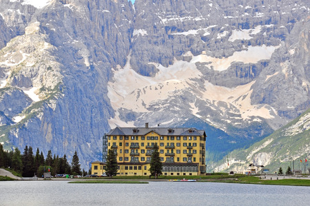 lake misurina: Hotel in Alps on Misurina Lake, Italy Stock Photo