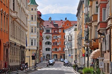 bolzano province: BOLZANO, ITALY - JULY 20: View of a street in historical centre of Bolzano, Italy on July 20, 2014. Bolzano is a city in northern Italy, the capital of Trentino Alto province.