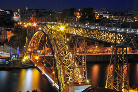 oporto: Oporto bridge at night, Portugal