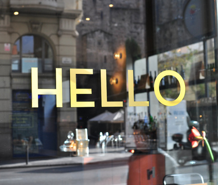 Hello sign in english language Banco de Imagens