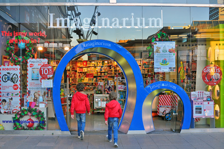 imaginarium: BARCELONA, SPAIN - DECEMBER 11: Front view of Imaginarium kids store in Barcelona on December 11, 2014. Barcelona is the second largest city of Spain.