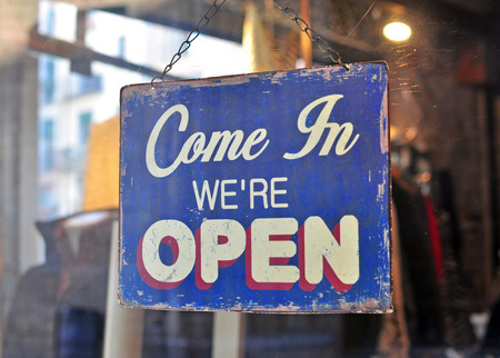 shop window: Open sign