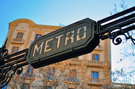 barcelone: Metro signe, Barcelone, Espagne