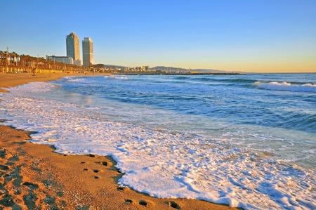 スペイン、バルセロナのビーチ 写真素材