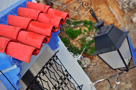 street lantern: Roof tile and street lantern, Chefchaouen, Morocco