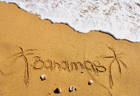 island beach: Bahamas beach sign Stock Photo