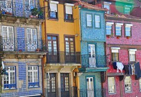 oporto: Colorful houses of Oporto, Portugal