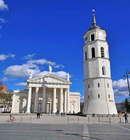 vilnius: VILNIUS, LITHUANIA - APRIL 12: TView of a Cathedral square of Vilnius old town on April 12, 2015. Vilnius is the capital and largest city of Lithuania.