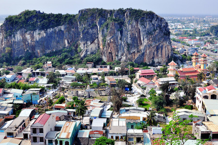 cluster house: Top view of the Marble mountains district, Vietnam Stock Photo