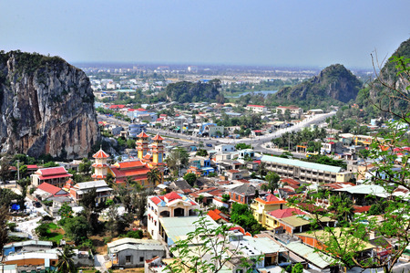 cluster house: DA NANG, VIETNAM - MARCH 18: View of Marble hills in Ngu Hanh Son district, Vietnam on March 18, 2015. Marble mountains is a cluster of five marble and limestone hills.