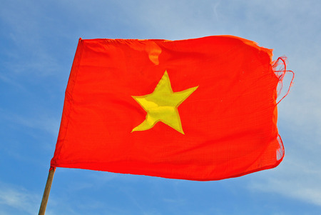 big red flag of vietnam with the big yellow star stock photo