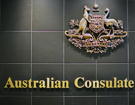 consulate: HO CHI MINH CITY, VIETNAM - MARCH 6: Australian coat of arms in australian consulate in Ho Chi Minh City, Vietnam on March 6, 2015. The coat of arms of Australia is the formal symbol of the Commonwealth of Australia.