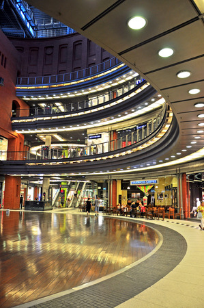 palladium: POZNAN, POLAND - AUGUST 2: Interiors of Palladium shopping and intertainment centre in Poznan, Poland on August 2, 2014. Palladium is the one of biggest shopping malls in Poland. Editorial