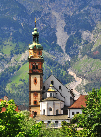 tyrolean: Old tyrolean church in Hall, Austria