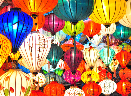 Traditional colorful asian lanterns Banco de Imagens