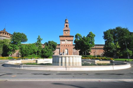 sforzesco: Fountain at Sforzesco castel, Milan, Italy Stock Photo