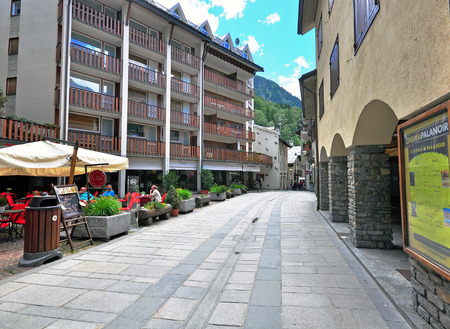 courmayeur: COURMAYEUR, ITALY - JUNE 23: View of the street in Courmayeur on June 23, 2015. Courmayeur is a resort in Val dAosta located in italian Alps. Editorial
