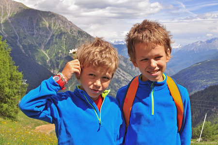 the french way: Two boys in mountains, Italy