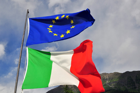 european flags: Flags of Italy and EU