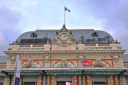 france station: NICE, FRANCE - JUNE 17: Facade of the main railway station of Nice on June 17, 2011. Nice is a fifth largest city of France.