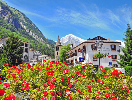 PRE SAINT DIDIER, ITALY - JUNE 26: View of the street in town centre of Pre Saint Didier on June 26, 2015. Pre Saint Didier is a resort in Val dAosta located in italian Alps.