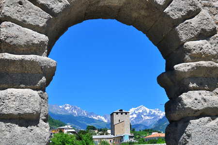 aosta: Roman arch of Aosta, Italy Stock Photo