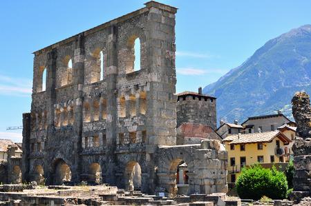 aosta: Aosta roman ruins Stock Photo