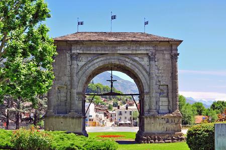 aosta: Roman arch in Aosta, Italy Stock Photo