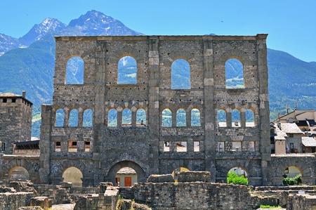 aosta: Roman ruins of Aosta, Italy Stock Photo