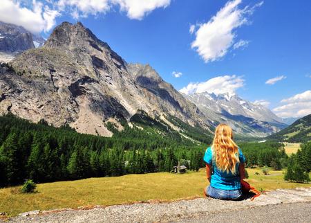 veny: Girl looking at mountains, Val Veny, Italy