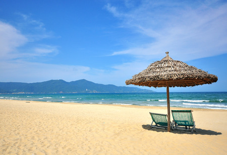 Empty sand beach of Da Nang city, Vietnam