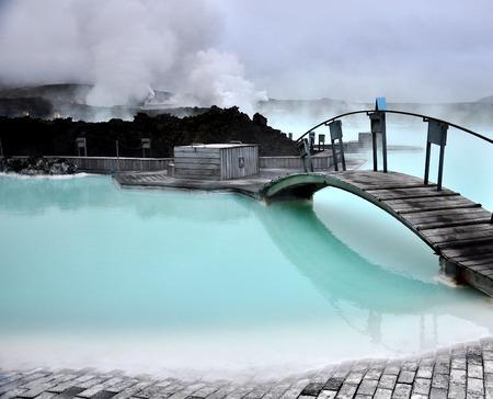 primavera: Laguna Azul, Islandia Foto de archivo
