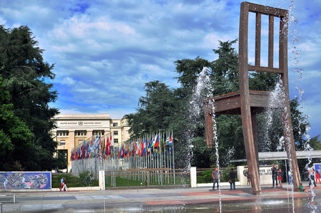 league of nations: GENEVA, SWITZERLAND - SEPTEMBER 3: View of the United Nation square in Geneva on September 3, 2015. Geneva is the second largest city of Switzerland.