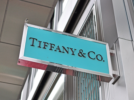 retailer: GENEVA, SWITZERLAND - SEPTEMBER 3: Logo of Tiffany & Co store in the store in Geneva on September 3, 2015. Tiffany&Co is an American worldwide luxury jewelry and specialty retailer Editorial