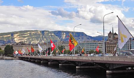 leman: GENEVA, SWITZERLAND - SEPTEMBER 3: Panoramic view of the waterfront of Leman lake in Geneva on September 3, 2015. Geneva is the second largest city of Switzerland.