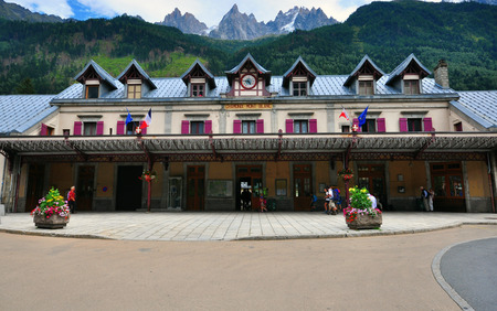 france station: CHAMONIX, FRANCE - JULY 31: Facade of the Railway station of Chamonix on July 31, 2015. Chamonix is a famous ski resort located in Savoy province, France.