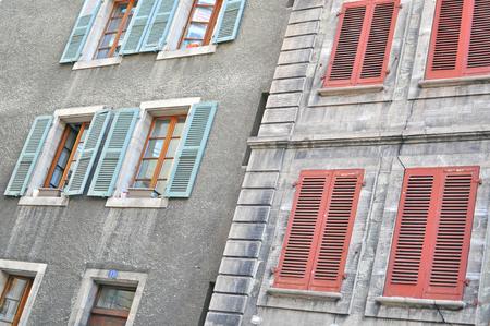 geneva: Windows and shutters of Geneva houses Stock Photo