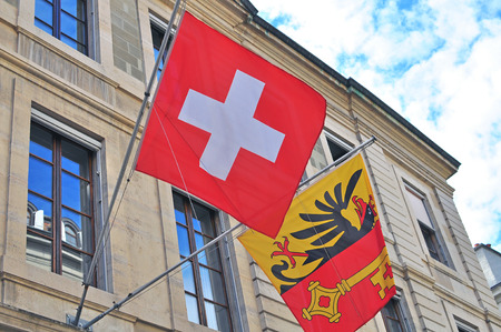 city coat of arms: Flags of Switzerland and Geneva city