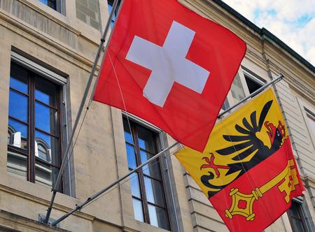 geneva: Flags of Geneva and Switzerland Stock Photo