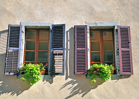 open windows: Open windows with wooden frames Stock Photo